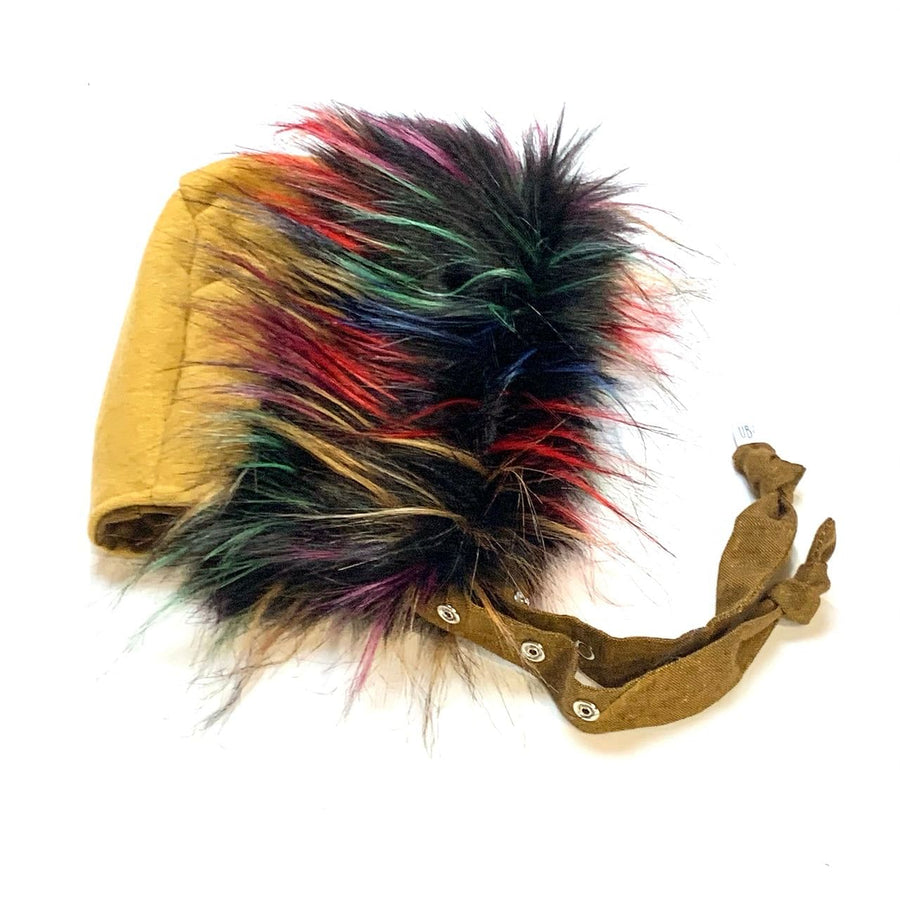 Brimless Bonnet in Furry Rainbow