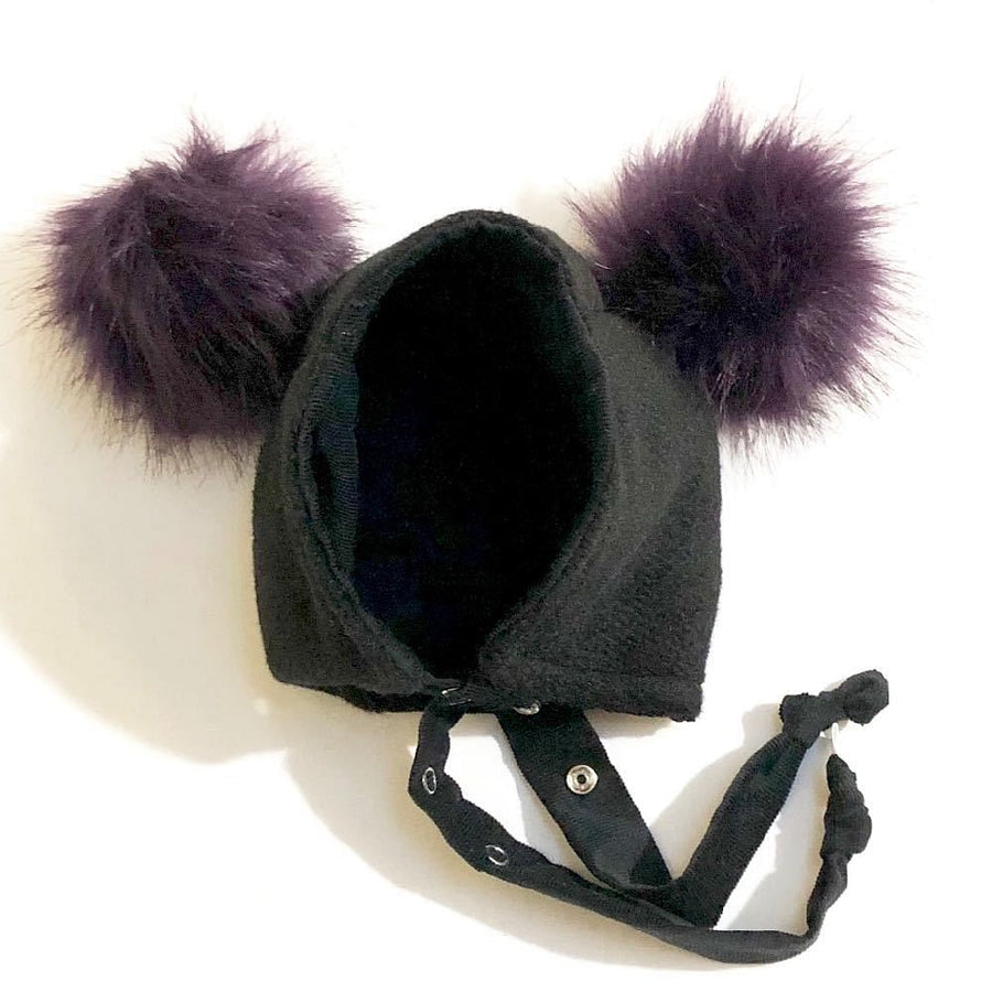 Brimless Bonnet in Black Panther (add ears or poms) - bebabyco