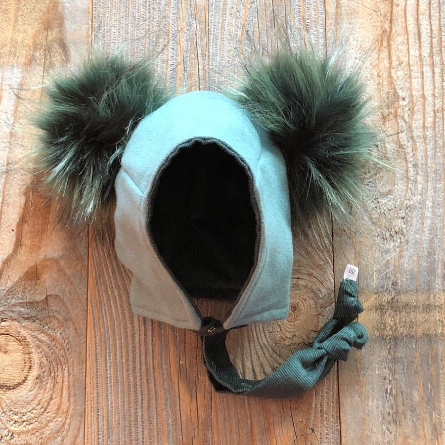 Brimless Bonnet in Blue Spruce (add ears or poms) - bebabyco
