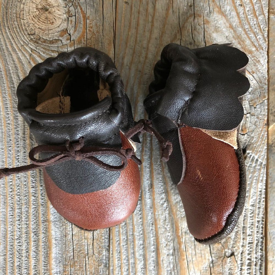 Brown Repurposed leather moccasins, 0-6m - bebabyco