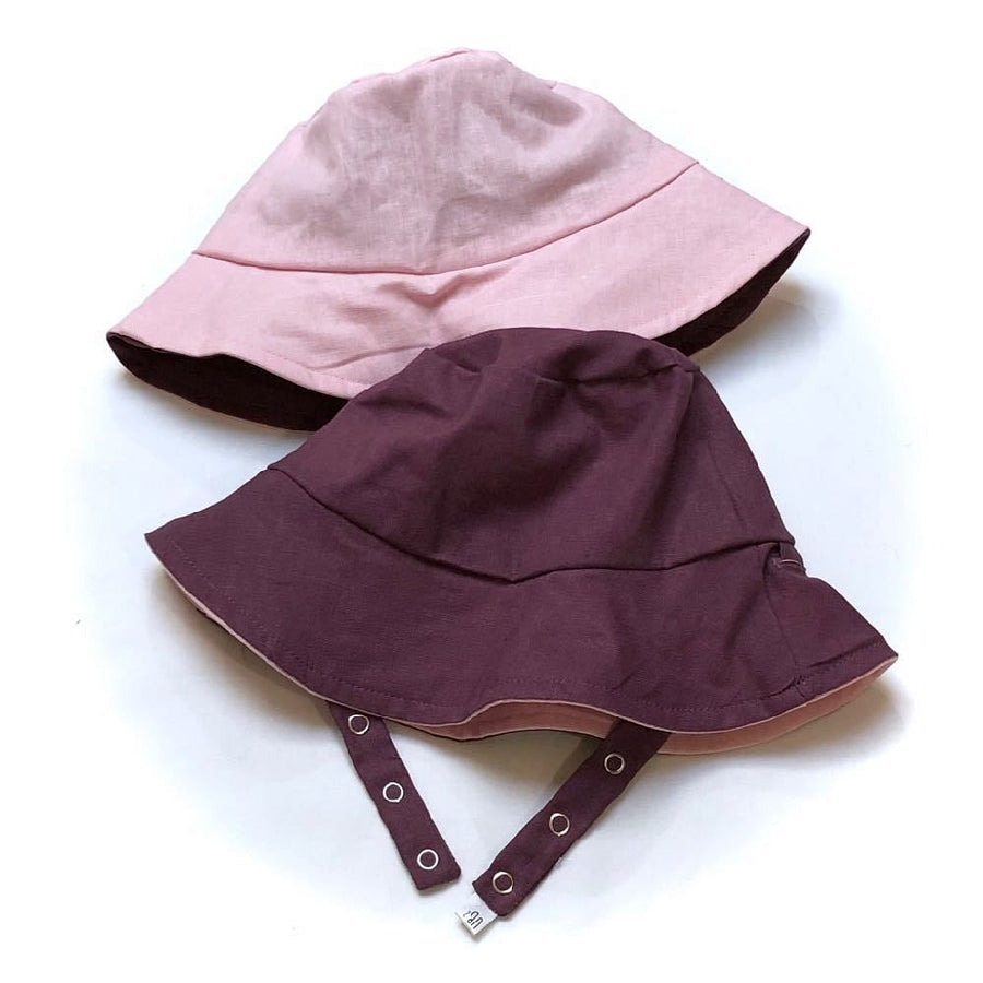 bucket hat in Grape Twist Linen - bebabyco