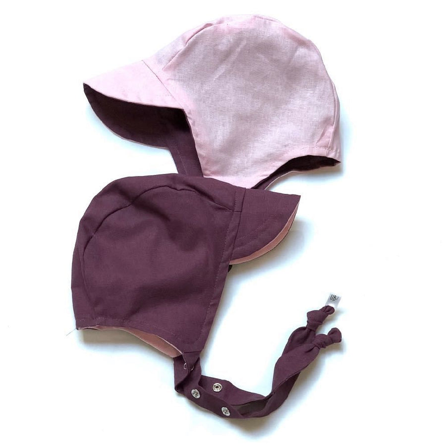pilot bonnet in grape twist linen - bebabyco