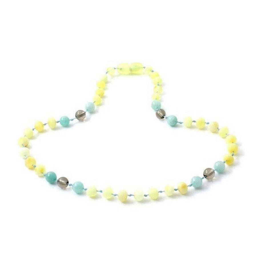 Teething necklace with raw lemon amber, smokey quartz, and aquamarine