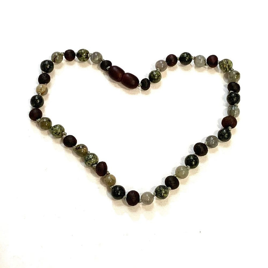 Teething necklace with raw cherry amber, labradorite & green lace agate