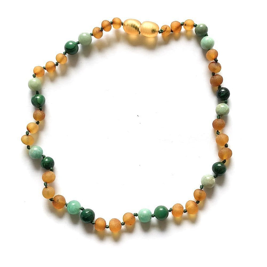 Teething necklace with raw honey amber, malachite and aquamarine - bebabyco