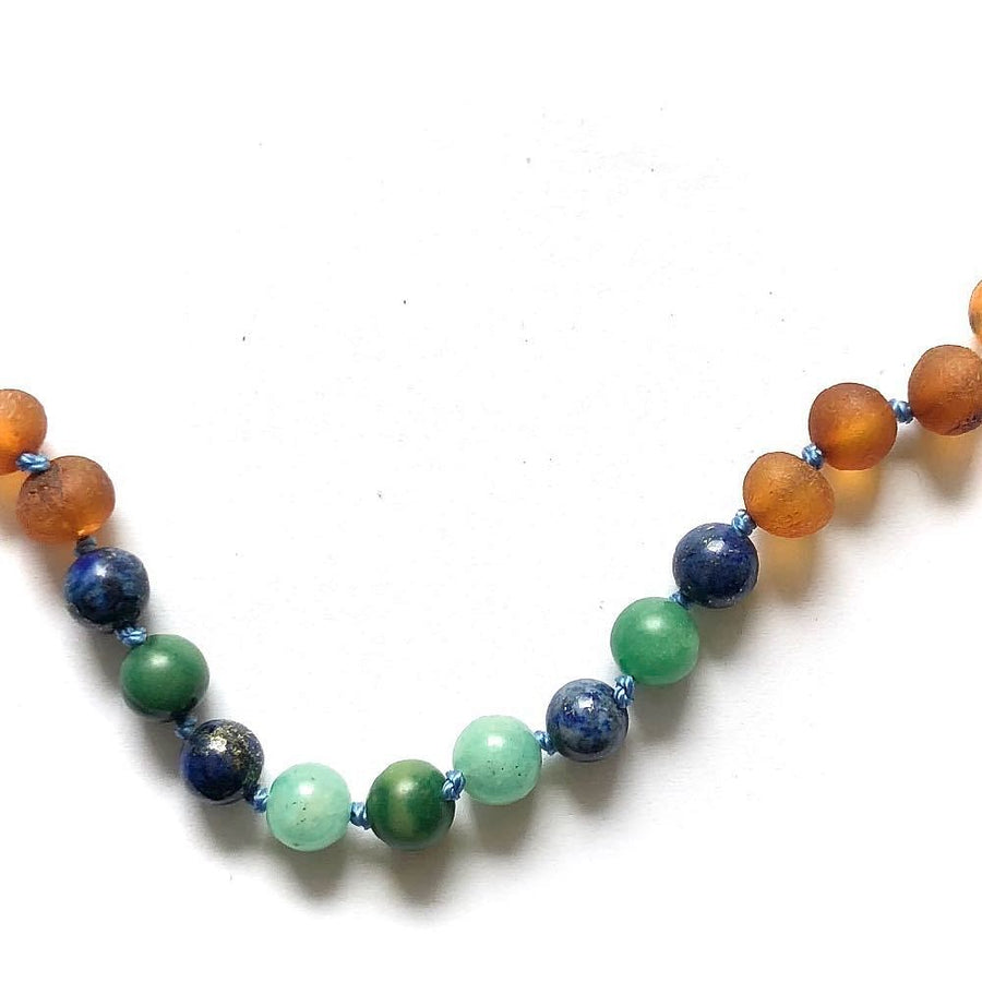 Teething necklace with raw cognac amber, malachite and lapis lazuli - bebabyco
