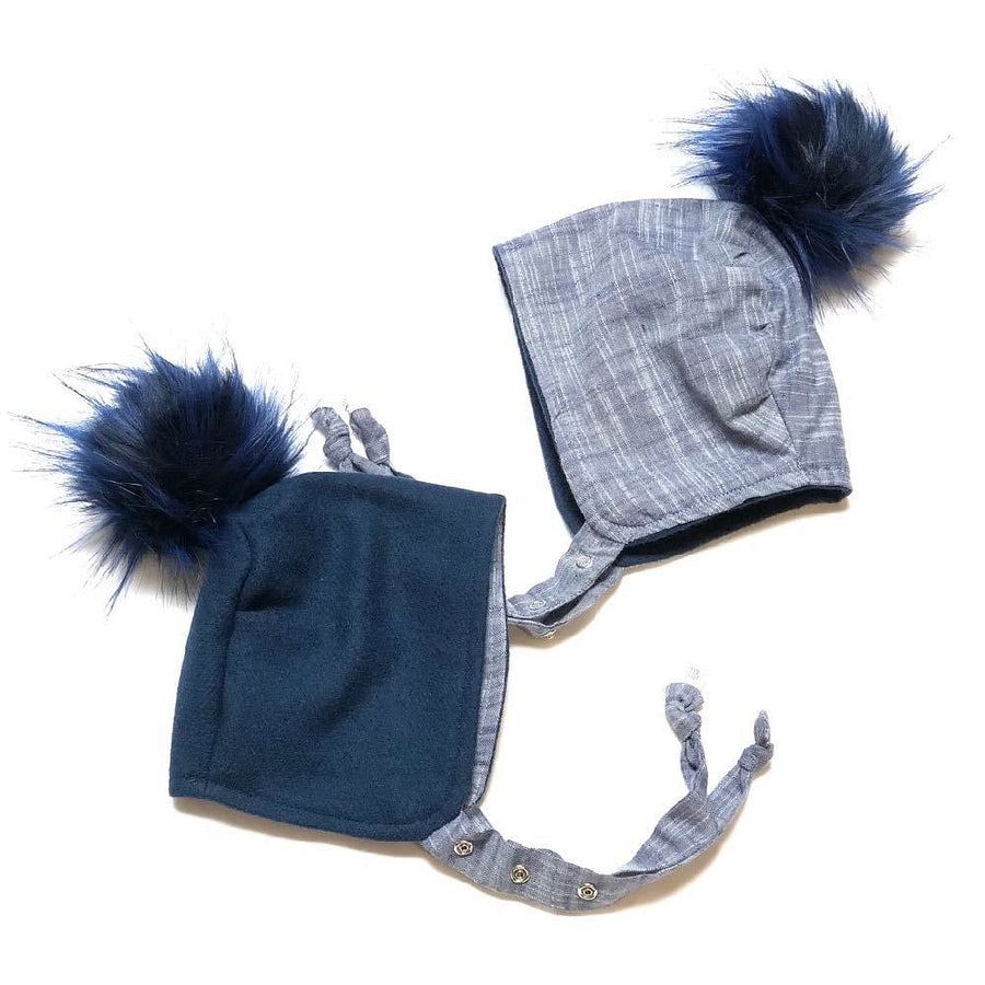 Brimless Bonnet in Navy (add ears or poms) - bebabyco