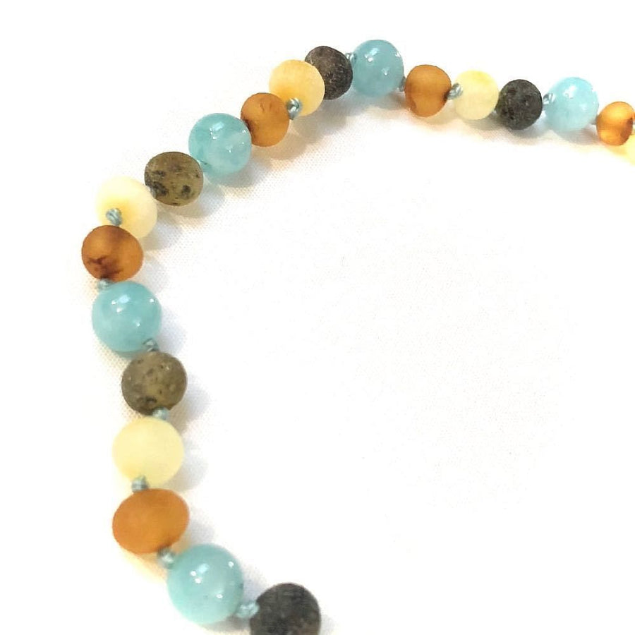 teething necklace with raw amber & aquamarine - bebabyco