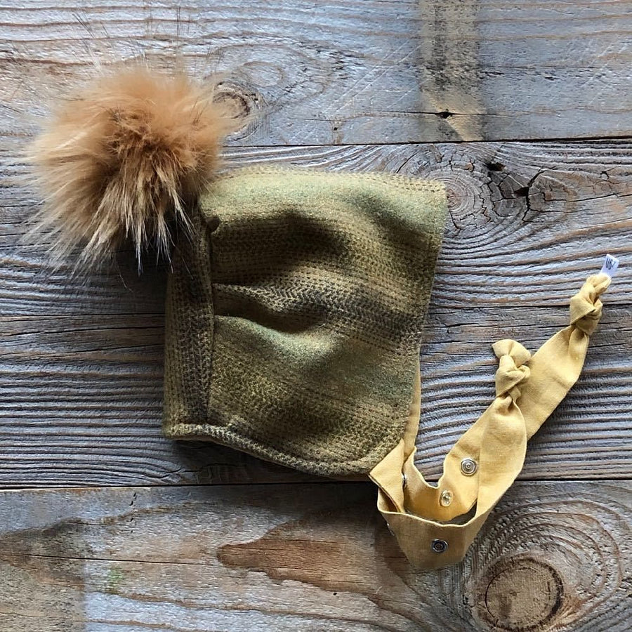 Brimless Bonnet in Sunlit Forest (add ears or poms) - bebabyco