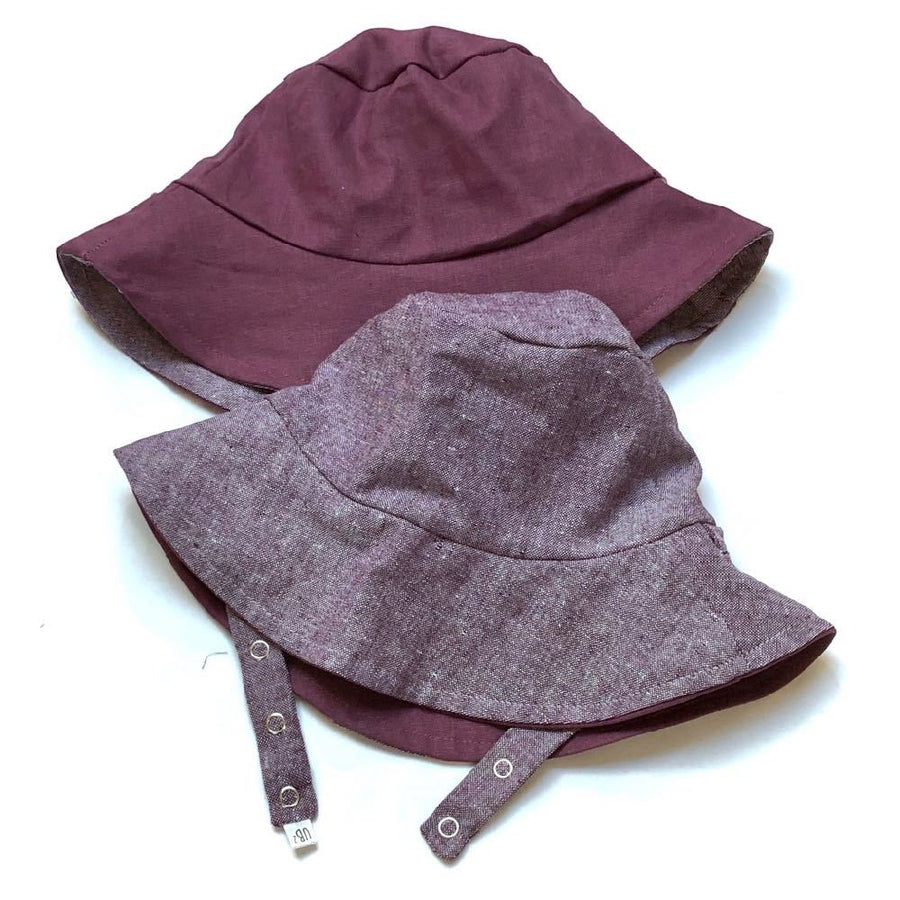 bucket hat in Sweetest Plum Linen - bebabyco