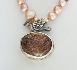 Love Bird Pink Pearl and Lodolite Necklace