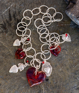 Milagros Glass Bead Heart Necklace
