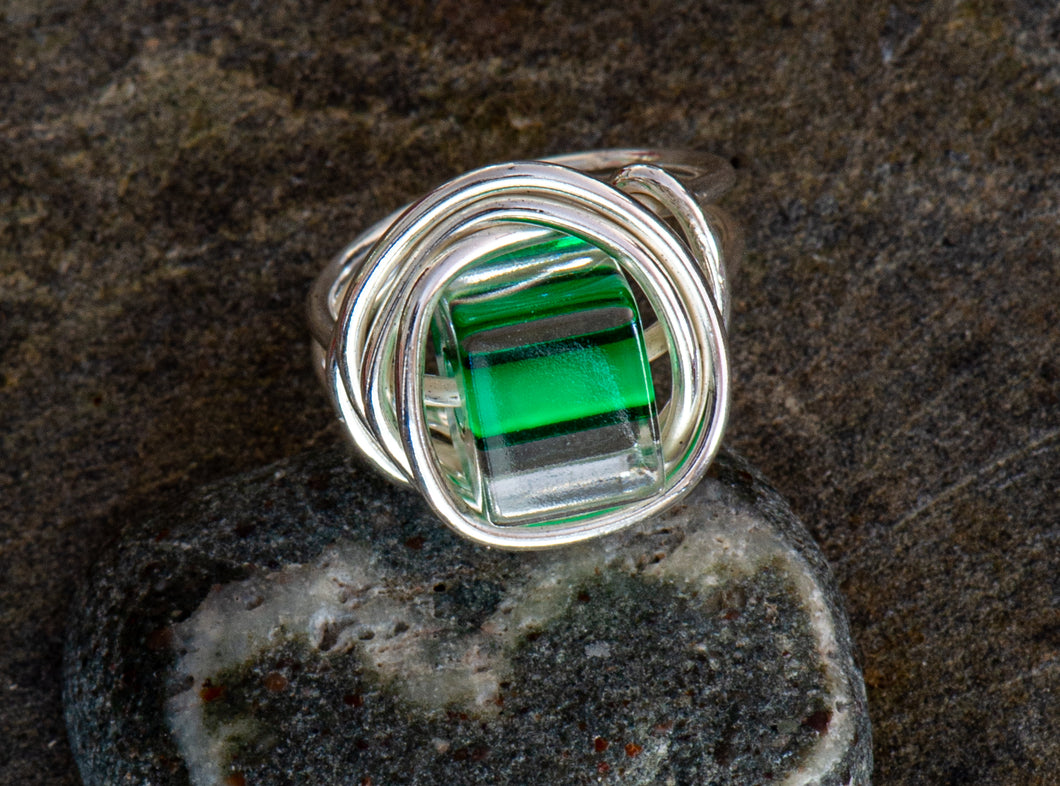 Entwined Glass Bead Ring