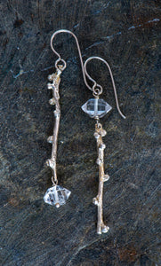 Twig Sterling Earrings with Herkimer Diamonds