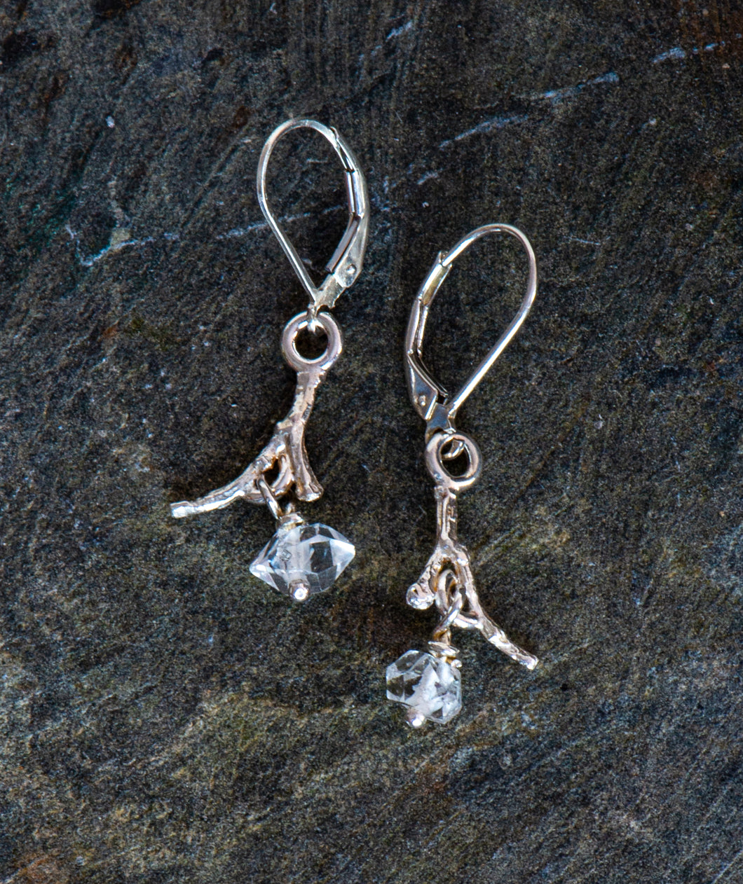 Twig Sterling Silver Earrings with Herkimer Diamonds