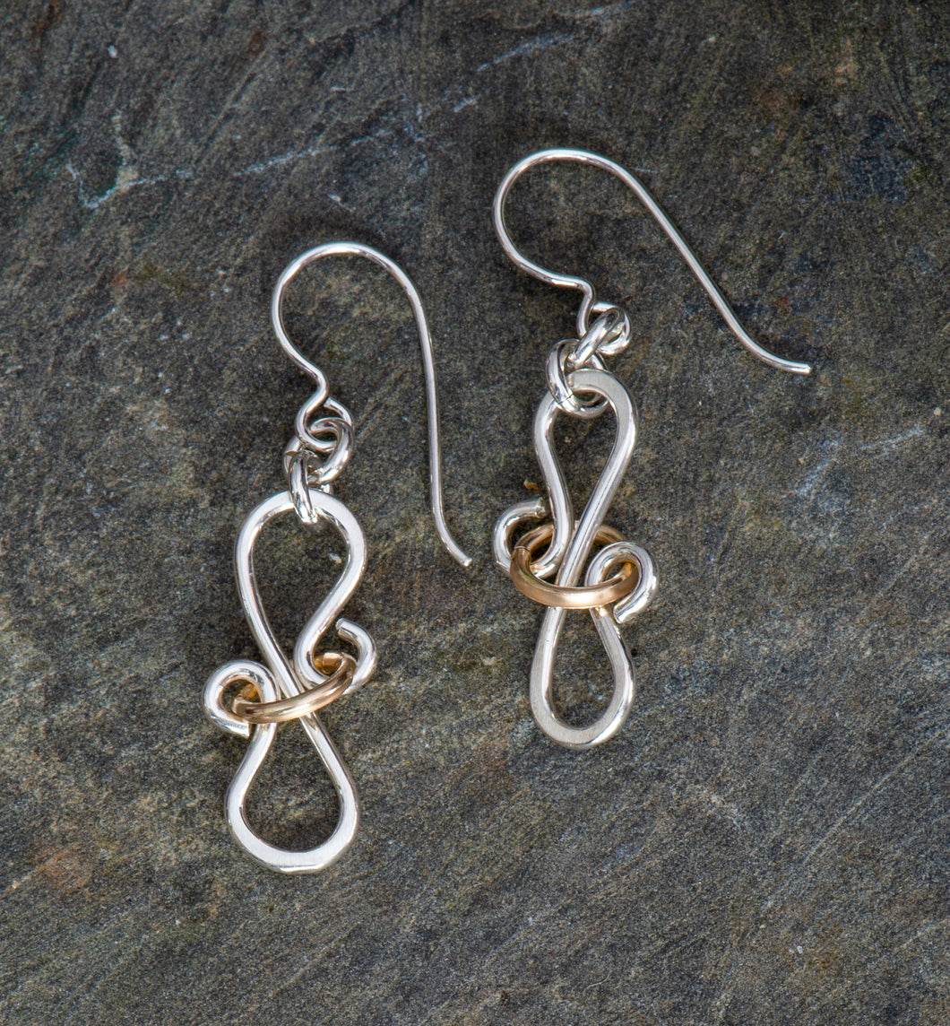 Ribbons and Curls Sterling and 14 kt gold filled Earrings
