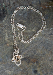 Ribbons and Curls Pendant - Sterling and 14 kt gold filled