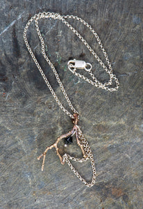 Twig Sterling Silver and Bronze Pendant