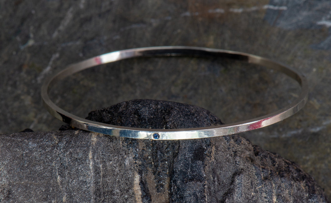 Bangle Bracelet with sapphire