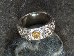 Romance Wide Band Ring with Citrine and Sterling Silver Granulation