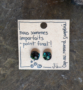 Ju - Slumped Glass Post (stud) Earrings