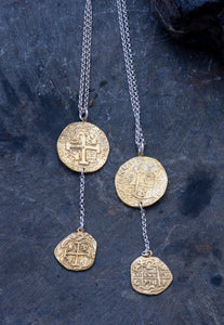 Pieces of Eight Bronze and Silver Necklace