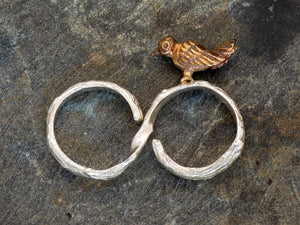 Twig Double Finger Ring with Bird
