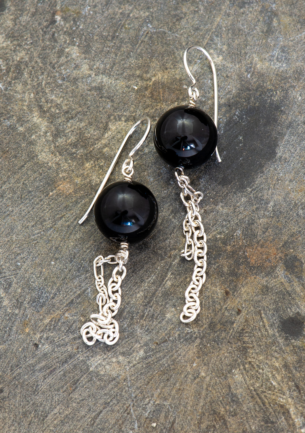 Statement Earrings in Black Onyx
