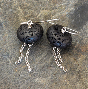 Statement Earrings with Black Lava