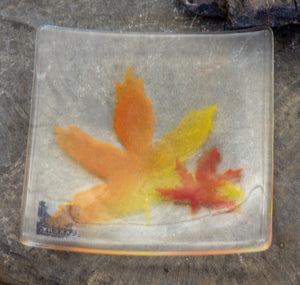 Slumped Glass Maple Leaf Plate