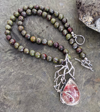 Load image into Gallery viewer, Dragon's Blood Jasper and Lodolite Necklace