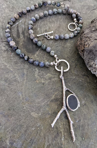 Twig Seeker Rune Necklace - Onyx and Rutilated Quartz Necklace