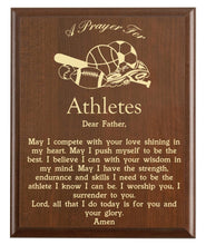 Load image into Gallery viewer, Christian prayer for an athlete with various sports designs and free personalization. Cherry finish with laser engraved text.