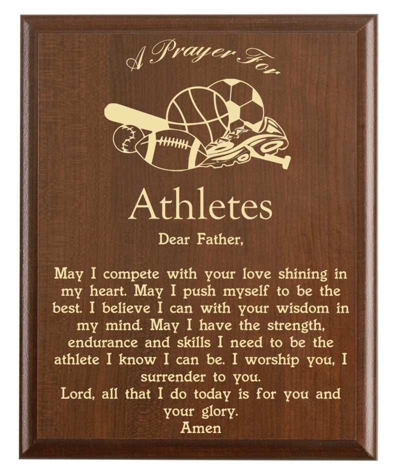 Christian prayer for an athlete with various sports designs and free personalization. Cherry finish with laser engraved text.