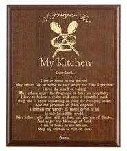 Load image into Gallery viewer, Christian prayer for a kitchen with industry logo and free personalization. Cherry finish with laser engraved text.