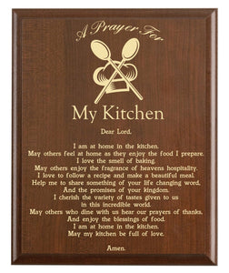 Christian prayer for a kitchen with industry logo and free personalization. Cherry finish with laser engraved text.