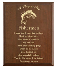Load image into Gallery viewer, Christian prayer for a fisherman with industry logo and free personalization. Cherry finish with laser engraved text.