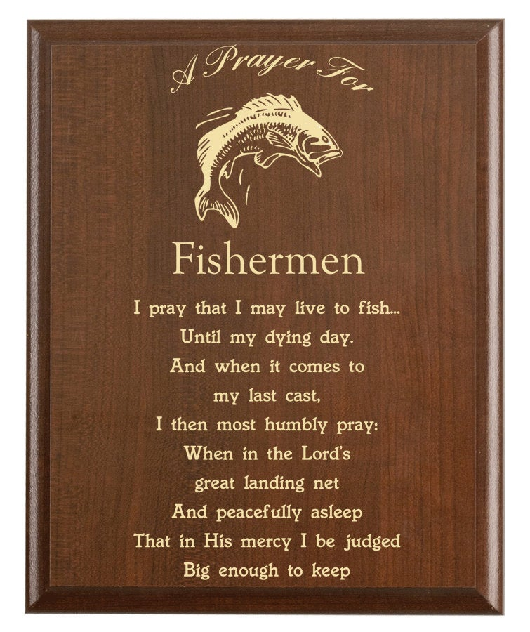Christian prayer for a fisherman with industry logo and free personalization. Cherry finish with laser engraved text.