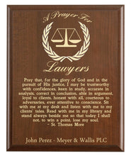 Load image into Gallery viewer, Christian prayer for a lawyer with industry logo and free personalization. Cherry finish with laser engraved text.
