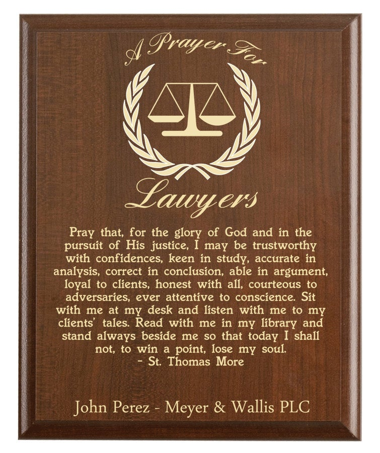 Christian prayer for a lawyer with industry logo and free personalization. Cherry finish with laser engraved text.