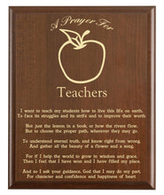 Load image into Gallery viewer, Christian prayer for a teacher with industry logo and free personalization. Cherry finish with laser engraved text.