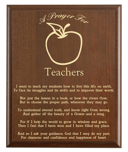 Christian prayer for a teacher with industry logo and free personalization. Cherry finish with laser engraved text.