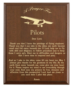 Christian prayer for a pilot with plane logo and free personalization. Cherry finish with laser engraved text.