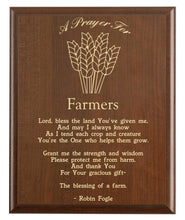 Load image into Gallery viewer, Christian prayer for a farmer with industry logo and free personalization. Cherry finish with laser engraved text.