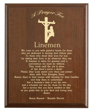 Load image into Gallery viewer, Christian prayer for a lineman with industry logo and free personalization. Cherry finish with laser engraved text.