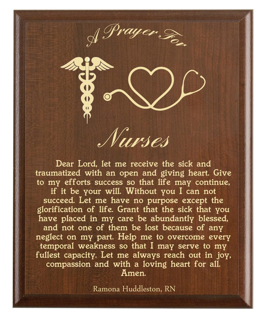 Christian prayer for a nurse with industry logo and free personalization. Cherry finish with laser engraved text.