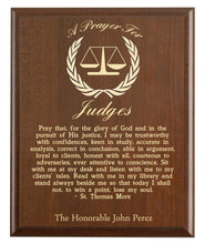 Load image into Gallery viewer, Christian prayer for a judge with industry logo and free personalization. Cherry finish with laser engraved text.