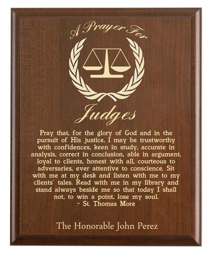 Christian prayer for a judge with industry logo and free personalization. Cherry finish with laser engraved text.