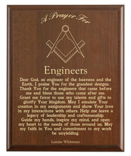 Load image into Gallery viewer, Christian prayer for an engineer with industry logo and free personalization. Cherry finish with laser engraved text.