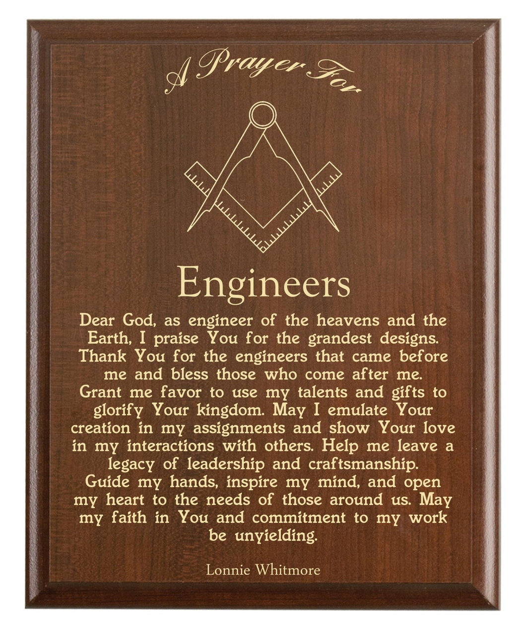 Christian prayer for an engineer with industry logo and free personalization. Cherry finish with laser engraved text.